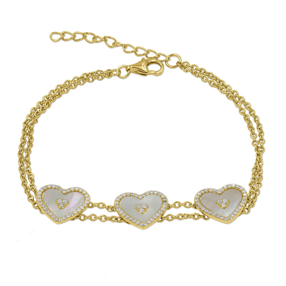 18K Gold Plated Sterling Silver CZ Bracelet with Heart Shape Mother of Pearl