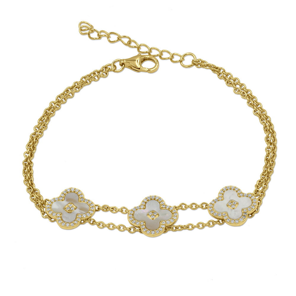 18K Gold Plated Sterling Silver CZ Bracelet with Clover Shape Mother of Pearl
