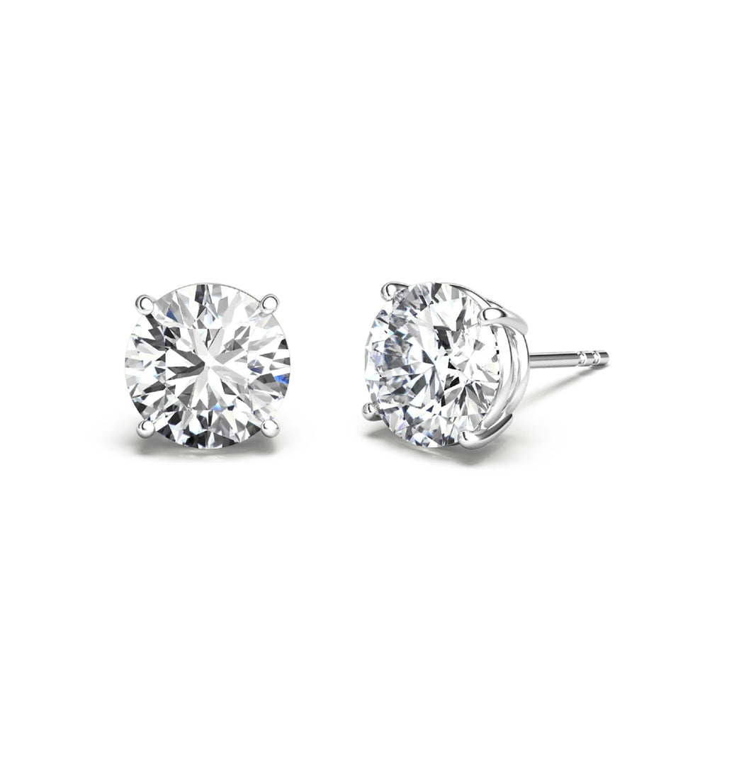 D Color VVS1, Excellent Cut Moissanite Stone Diamond Solitaire Studs 925 Sterling Silver Earrings with GRA certificate