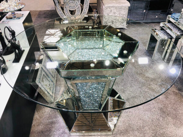 Crushed Diamond Sparkle Glitz Mirrored Round Dining Table