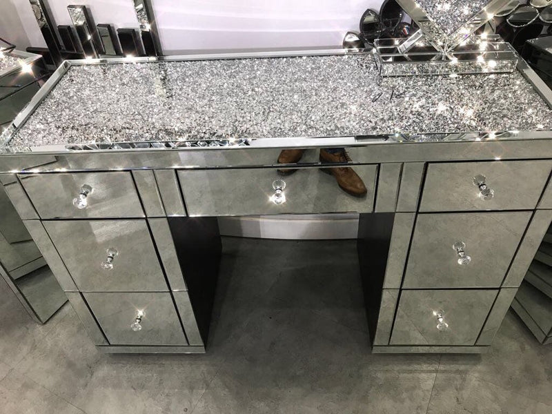 Diamond Crushed 7 Drawer Dressing Table
