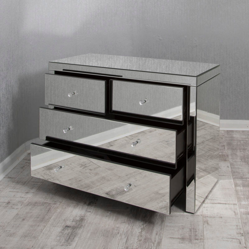 Clear Mirrored 2+2 Chest of Drawers
