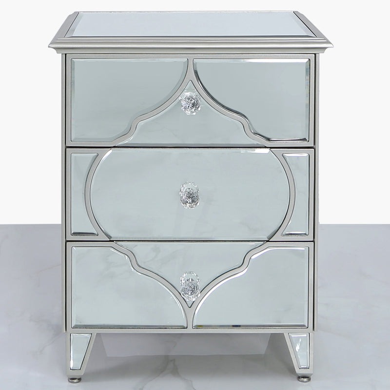 Marrakech Mirror 3 Drawer Bedside Cabinet
