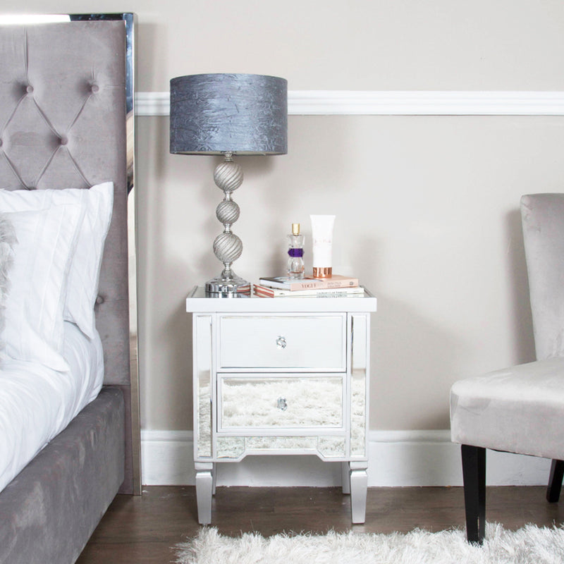 Value 2 Drawer Mirrored Bedside