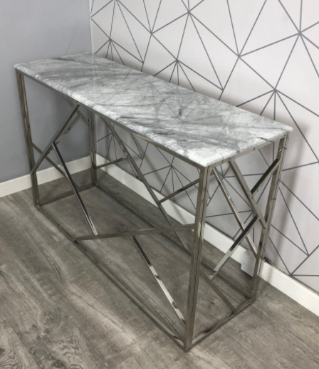 Marble Top and Stainless Steel Console Table