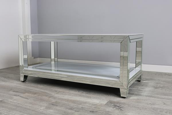 White Mirror Two Tier Coffee Table
