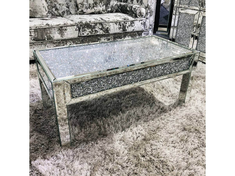 Crushed Diamond Sparkle Glitz Mirrored Coffee Table