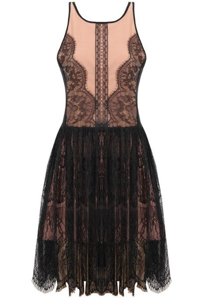 'Agatha' Black & Nude Lace Dress