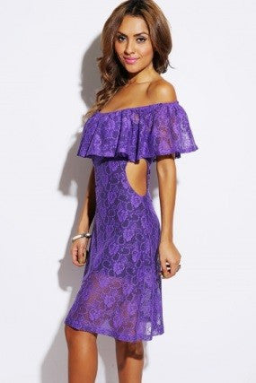'Adelia' Lilac Lace Ruffle Off Shoulder Dress