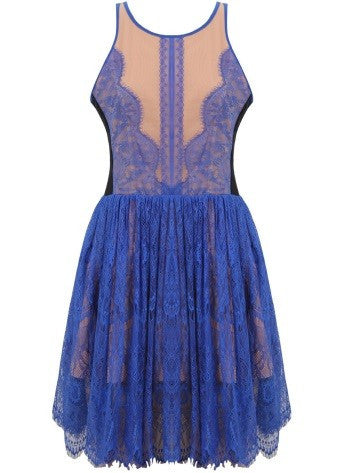 'Agatha' Blue & Nude Lace Dress