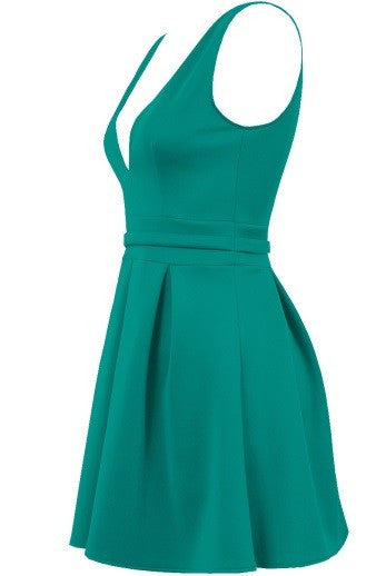 'Beatrice' Green Pleated Mini Skater dress