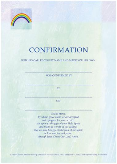 Image of Confirmation Certificate Green / Blue - Pack of 10 other