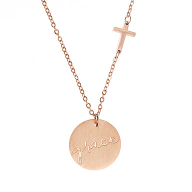 Image of Grace Cross Disc Necklace other