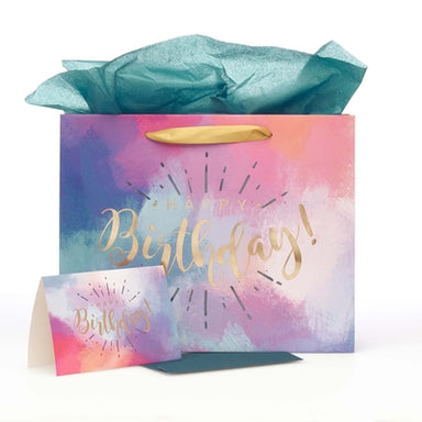 Image of Happy Birthday Multicolored Large Gift Bag Set with Card and Tissue Paper other