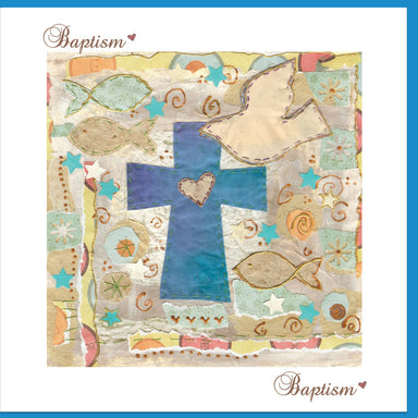 Image of Baptism Blue Cross Greetings Card other