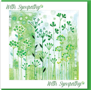 Image of Sympathy Green Flowers Greetings Card other