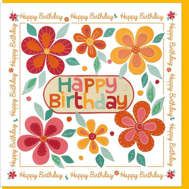 Image of Birthday Orange Flowers  Greetings Card other