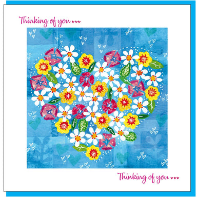 Image of Flowers & heart thinking of you Greetings Card other