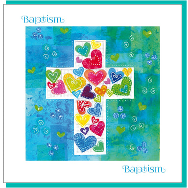 Image of Baptism Hearts & cross Greetings Card other