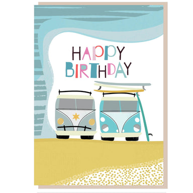 Image of Happy birthday campervans Greetings Card other