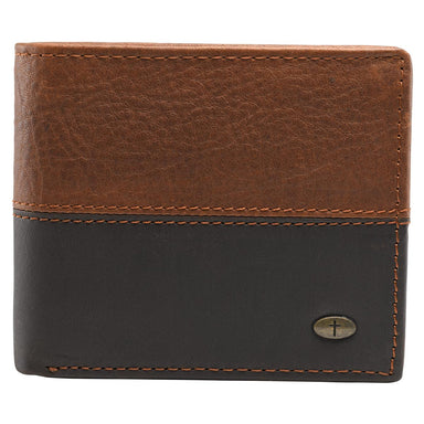 Image of Two-Tone Genuine Leather Wallet with Cross Stud other
