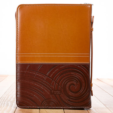 "Image of ""On Wings Like Eagles"" (Brown/Tan) Two-tone Bible Cover, Large other"