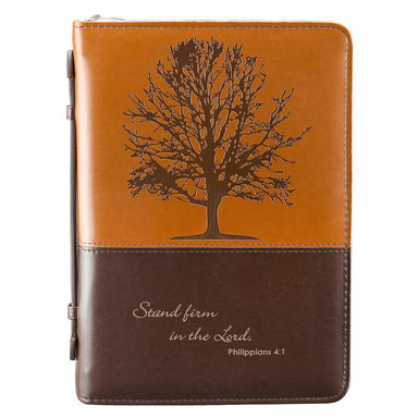 "Image of ""Stand firm in the Lord"" (Brown) Two-tone LuxLeather Bible Cover, Large other"