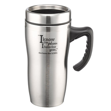 Image of I know the Plans Stainless Steel Travel Mug With Handle - Jeremiah 29:11 other