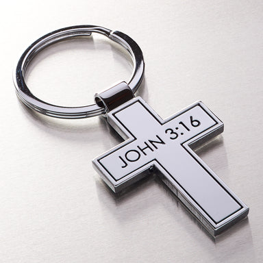 Image of Metal Cross - John 3:16 Keyring other
