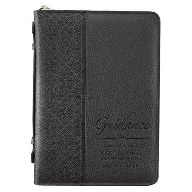 "Image of ""Guidance"" (Black) LuxLeather Bible Cover- Large  other"