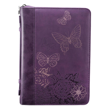 Image of Butterflies (Purple) LuxLeather Bible Cover- Large other