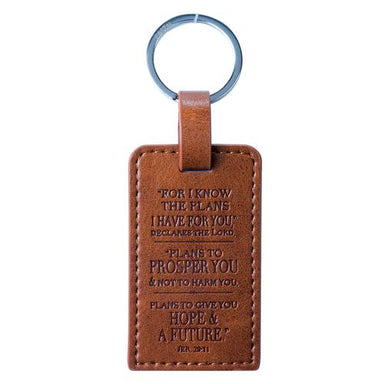 Image of I Know the Plans Jer 29:11 Brown LuxLeather Keyring other