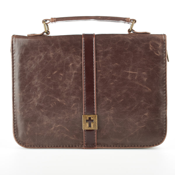 Image of Brown Distressed Faux Leather Classic Bible Cover with Cross Badge other