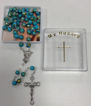 Image of Blue with Gold Decoration Glass Rosary other