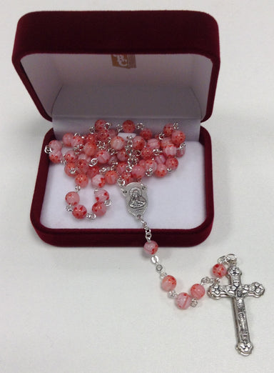 Image of Murano Glass Rosary Pink and White other