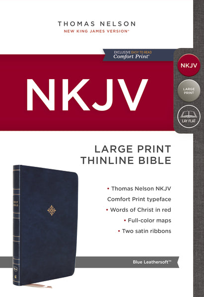 Image of NKJV, Thinline Bible, Large Print, Leathersoft, Blue, Red Letter, Comfort Print other