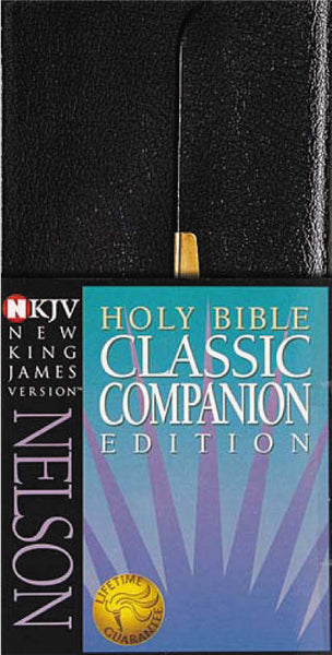 Image of NKJV Classic Companion Bible, Black, Bonded Leather, Slimline, Translation and Textual Footnotes, Words of Jesus in Red,  In-text Chapter Headings other