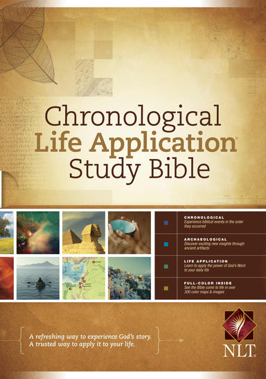 Image of NLT Chronological Life Application Study Bible, Brown, Hardcover, Illustrated, Presentation Page, Maps, Notes, Cross-Reference, Book Introductions other