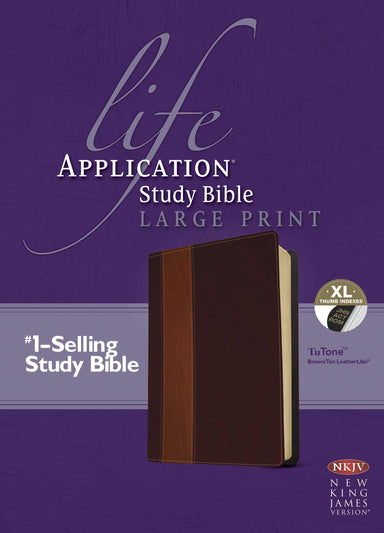 Image of NKJV Life Application Study Bible, Large Print, Imitation Leather, Brown/Tan, Ribbon Marker, Cross Reference, Concordance other