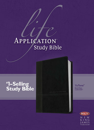 Image of NKJV Life Application Study Bible, Black/Onyx TuTone, Red Letter, Maps, Footnotes, Concordance, Ribbon Marker other