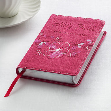 Image of KJV Pocket Bible, Pink, Imitation Leather, Gift, Ribbon Marker, Lay-Flat Spine, Gilt Edges, Scripture Verse Finder, One Year Reading Plan other