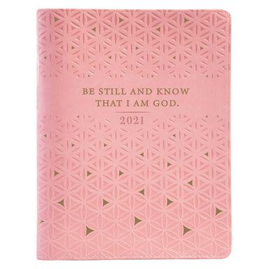 Image of 2021 Pink Be Still and Know Large Zippered Faux Leather  18-month Planner - Psalm 46:10 other