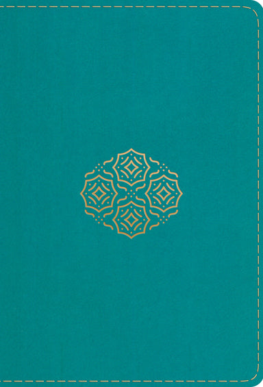 Image of ESV Large Print Compact Bible, Teal, Imitation Leather, Gilt-Edged, Double-Column, Words Of Christ In Red, Ribbon Marker, Concordance, Bouquet Design, Smyth-Sewn Binding other