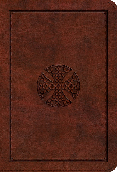 Image of ESV Large Print Bible, Brown, Imitation Leather, Compact, Concordance, Ribbon Market, Gilded Edges, Red Letter, Sewn Binding, Cross Design other