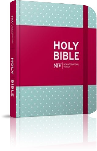 Image of NIV Journalling Bible, Blue, Hardback, Extra Wide Lined Margins, Presentation Page, Ribbon Markers, Anglicised Text, Polka Dot Design, Protective Wrap Band other