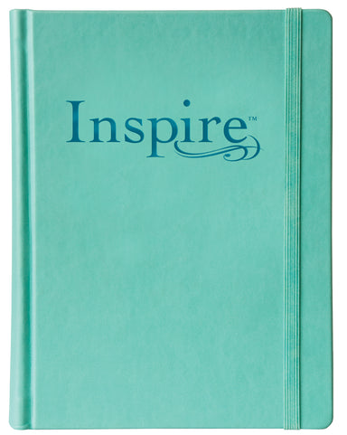 Image of NLT Inspire Colouring, Bible, Turquoise, Hardback, Two-inch-wide ruled margins, Line-art illustrations, Colour-in Scripture art, Ribbon marker, Elastic band closure other
