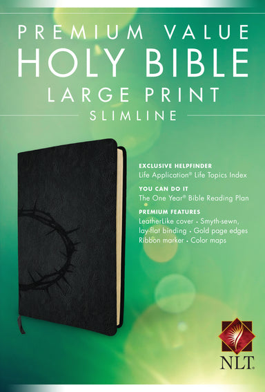 Image of NLT Large Print,  Bible, Black, Imitiation Leather, Slimline, Life Application Topics, One Year Reading Plan, Gilt Edged, Premium Value other