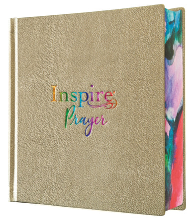 Image of Inspire PRAYER Bible NLT, Hardback Leatherlike, Metallic Champagne Gold, Wide Margins, Illustrated, Journaling, Colour Page Edges other