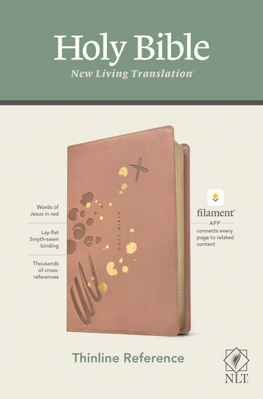 Image of NLT Thinline Reference Bible, Filament Enabled Edition, Red Letter, LeatherLike, Brushed Pink, Gilt Edges, Ribbon Marker, App other
