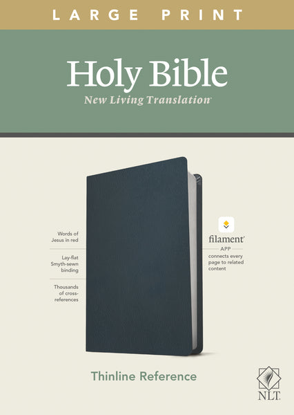 Image of NLT Large Print Thinline Reference Bible, Filament Enabled Edition (Red Letter, Genuine Leather, Navy Blue) other
